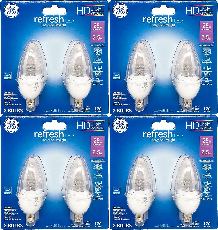 GE Lighting 2.5-Watt (25-Watt Replacement) 170 Lumens, Clear, Medium Base, Blunt Tip LED Light Bulb (8 Bulbs)