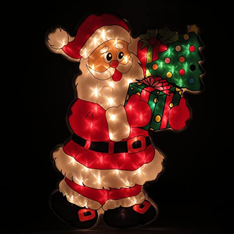 christmas santa claus silhouette lights for wall window hang indoor or outdoor holiday season decor - Amazon Christmas Decorations Indoor