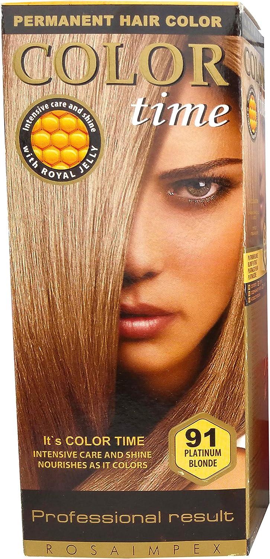 Color time, tinte permanente para el cabello de color rubio platinado 91