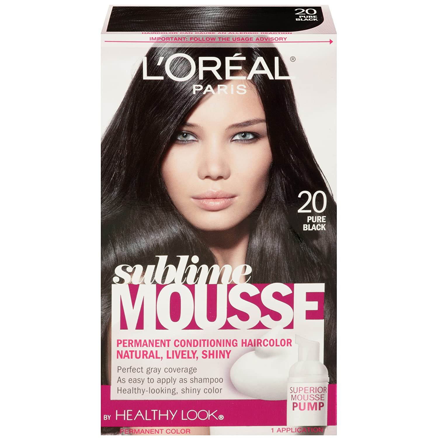 Amazon com l oreal paris sublime mousse by healthy look hair color 20 pure black hair color refreshers beauty