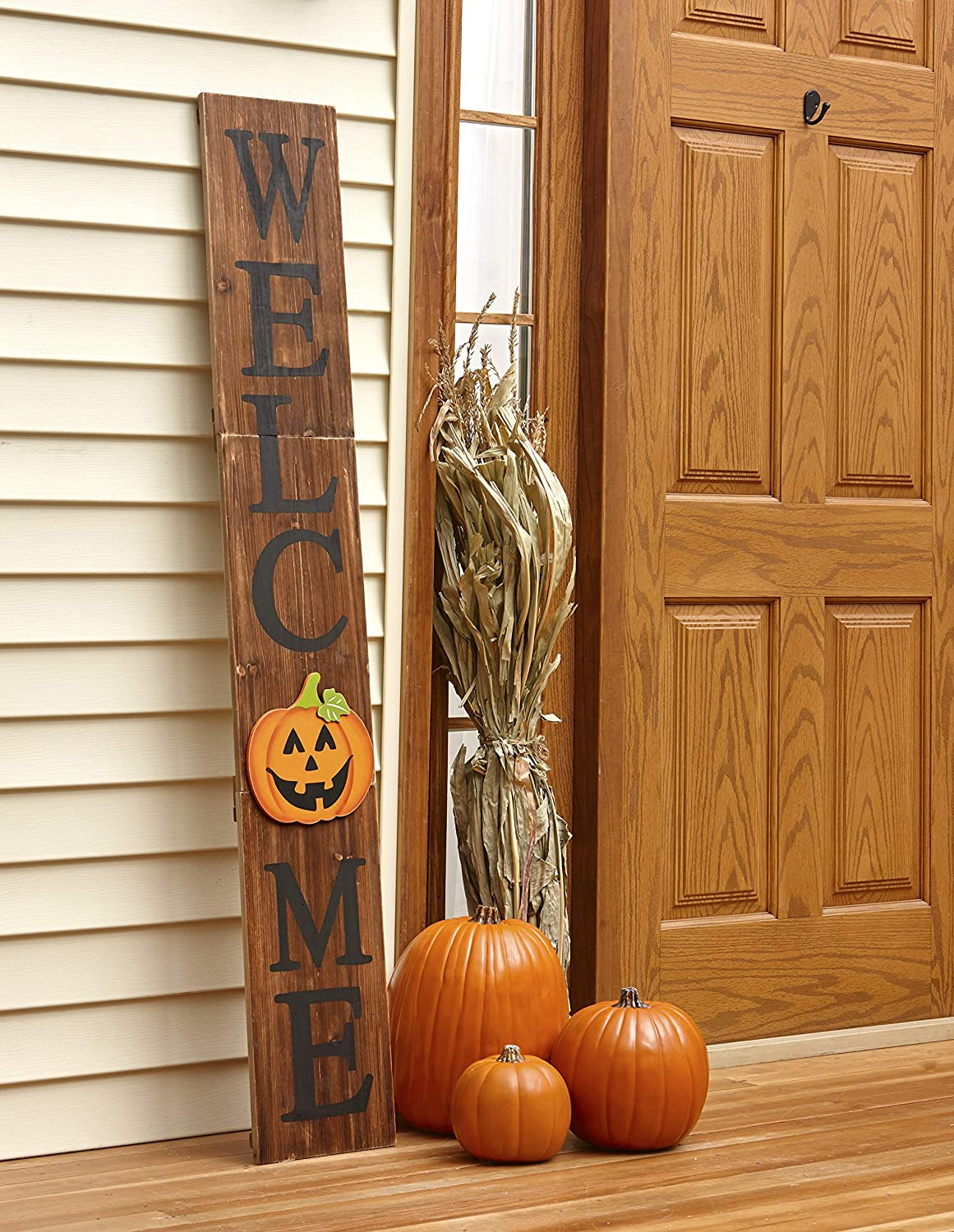 The Lakeside Collection Interchangeable Welcome Sign for Fall, Halloween, Winter, Christmas, Spring