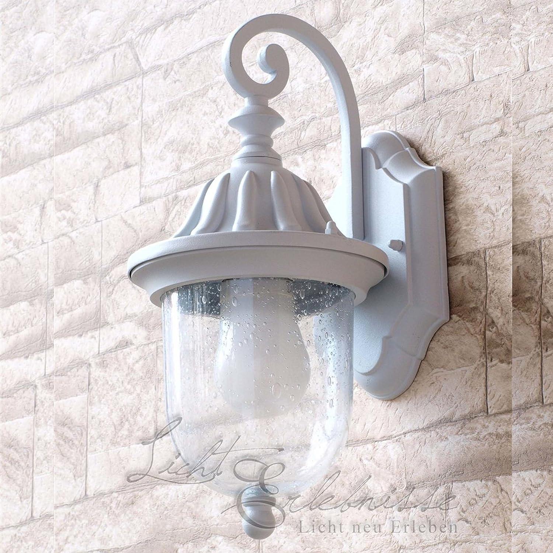 Edle LED Energiespar-Wandaussenleuchte 6 Watt in weiß Wandleuchte