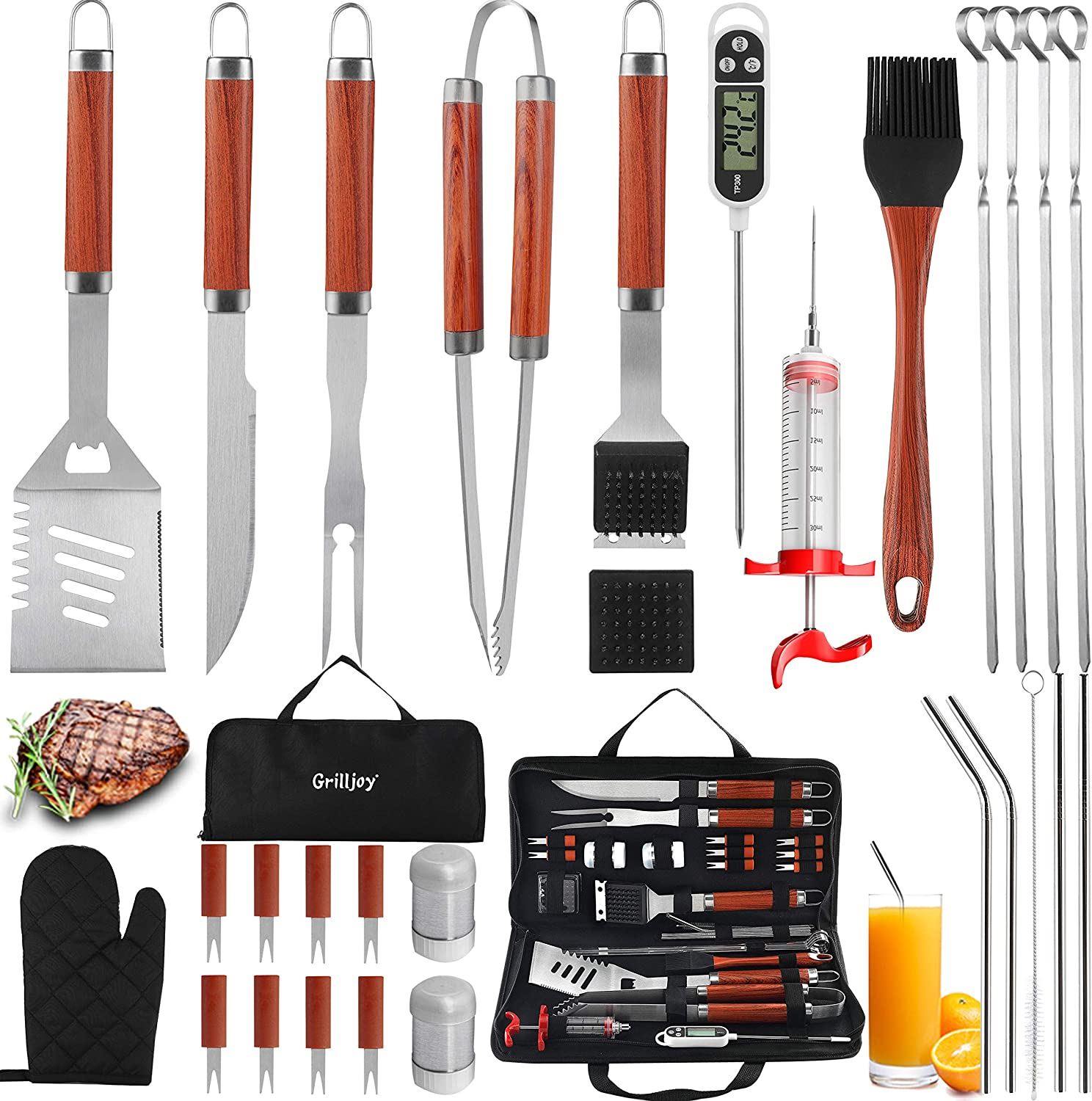 grilljoy 30PCS BBQ Grill Tools Set with Thermometer and Meat Injector. Extra Thick Stainless Steel Spatula, Fork& Tongs - Complete Grilling Accessories in Portable Bag - Perfect Grill Set Gift.
