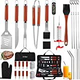 grilljoy 30PCS BBQ Grill Tools Set with Thermometer and Meat Injector. Extra Thick Stainless Steel Spatula, Fork& Tongs - Com