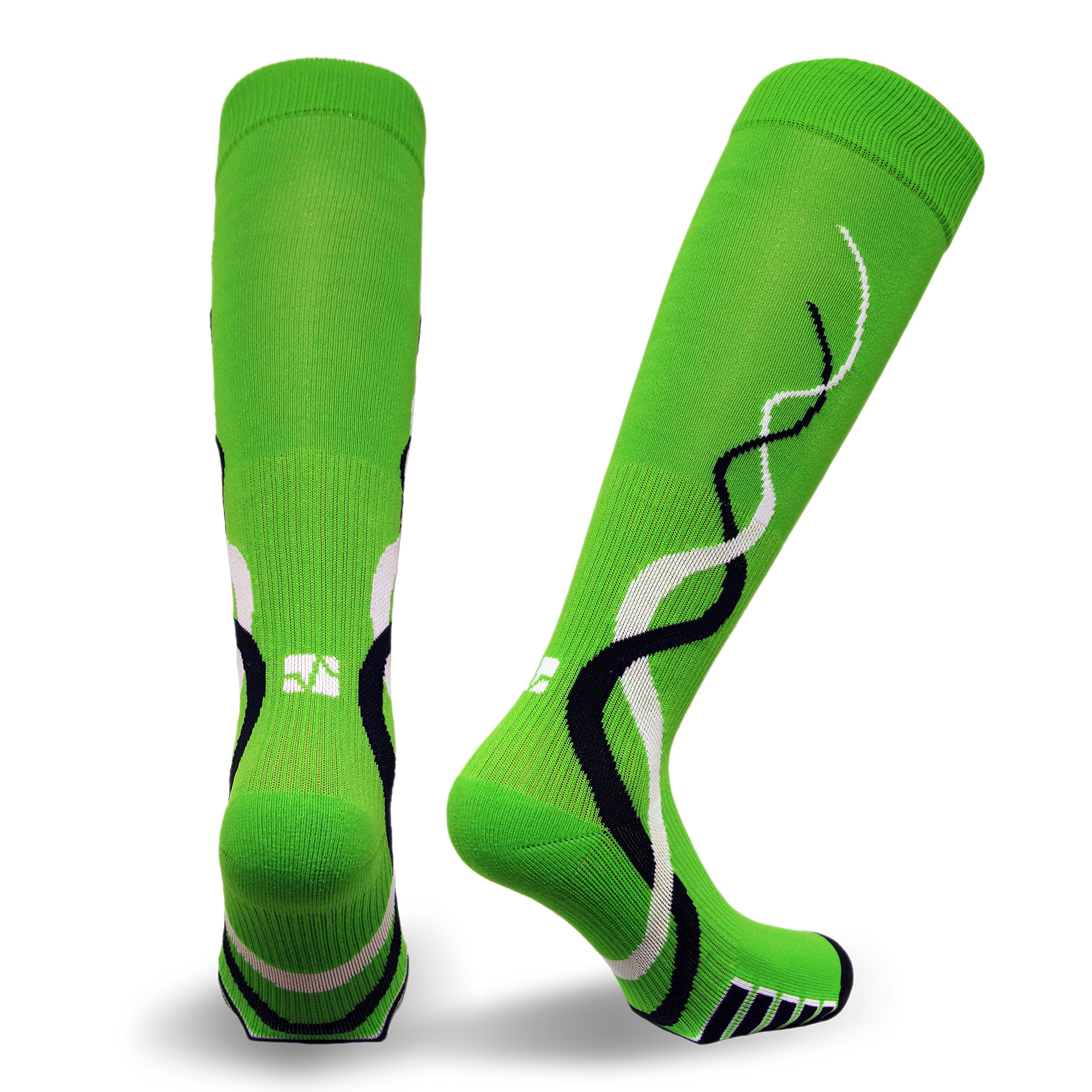 Vitalsox VTW0316 Race Day, Ladies Patented Graduated Compression Odor Resistant Running, Training, Recovery Socks (1 pair Women's), Medium, Green