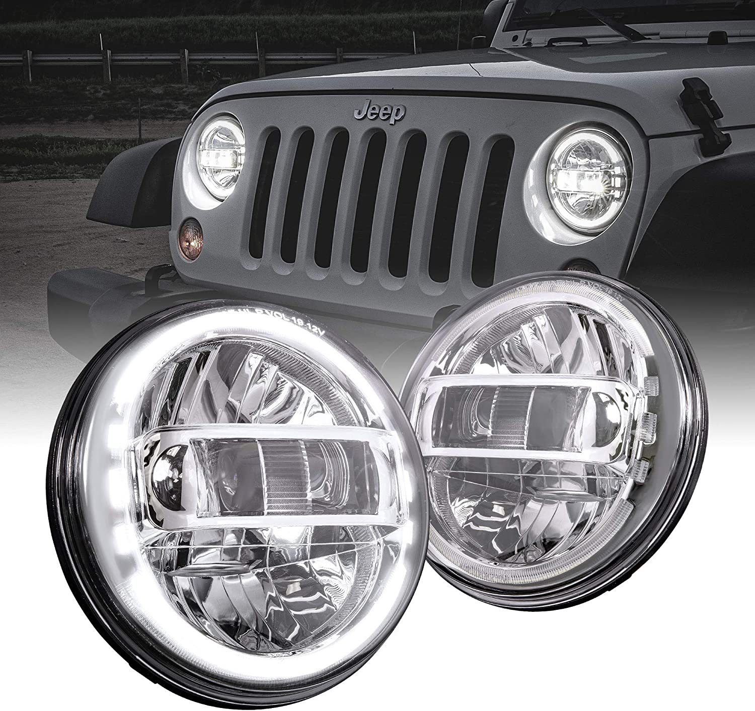 Built-In CAN Bus Chrome-Finish H4 Plug n Play 7 Round LED Headlights for Jeep Wrangler JK TJ LC CJ Hummer H1 H2 DOT Approved Accessories for Jeep Wrangler 1987-2018 Head Lights HALO DRL