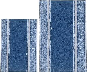 Chardin Home - 100% Pure Cotton - 2 Piece Manhattan Stripe Bathroom Rug Set, (21''x34'' & 17''x24'') Medium Blue-White (Pantone 17-4020 Tpx) with Latex Spray Non-Skid Backing