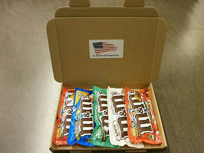 American M&M's Gift Set   Chocolate Hamper   Peanut Butter, Mint, Pretzel, White Chocolate M&Ms, American Candy Hamper by M&Ms