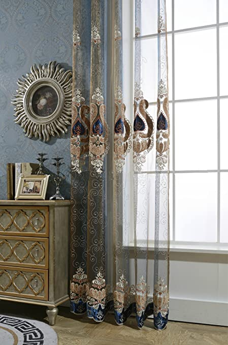 AiFish Sheer Curtain Drapes European Style Elegant Embroidery Home Decor  Window Treatment Panel Tulle Curtains For