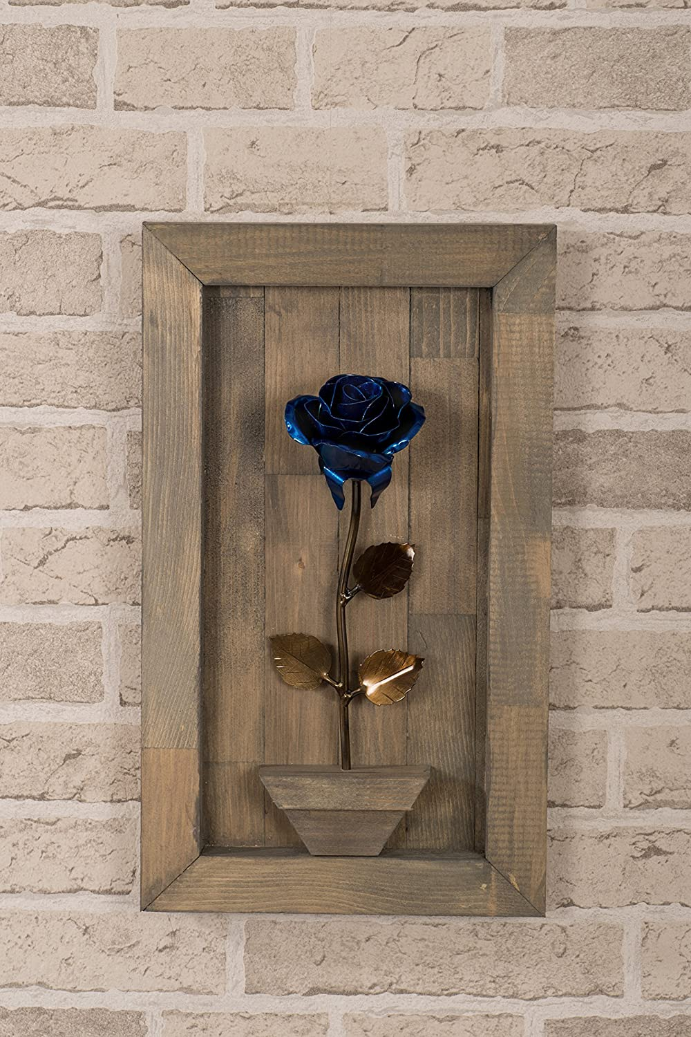 Hand Forged Wrought Iron Blue Metal Rose with Wood Hanging