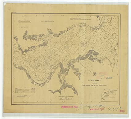 James River Us Map.Amazon Com 18 X 24 Canvas 1877 Virginia Old Nautical Map Drawing