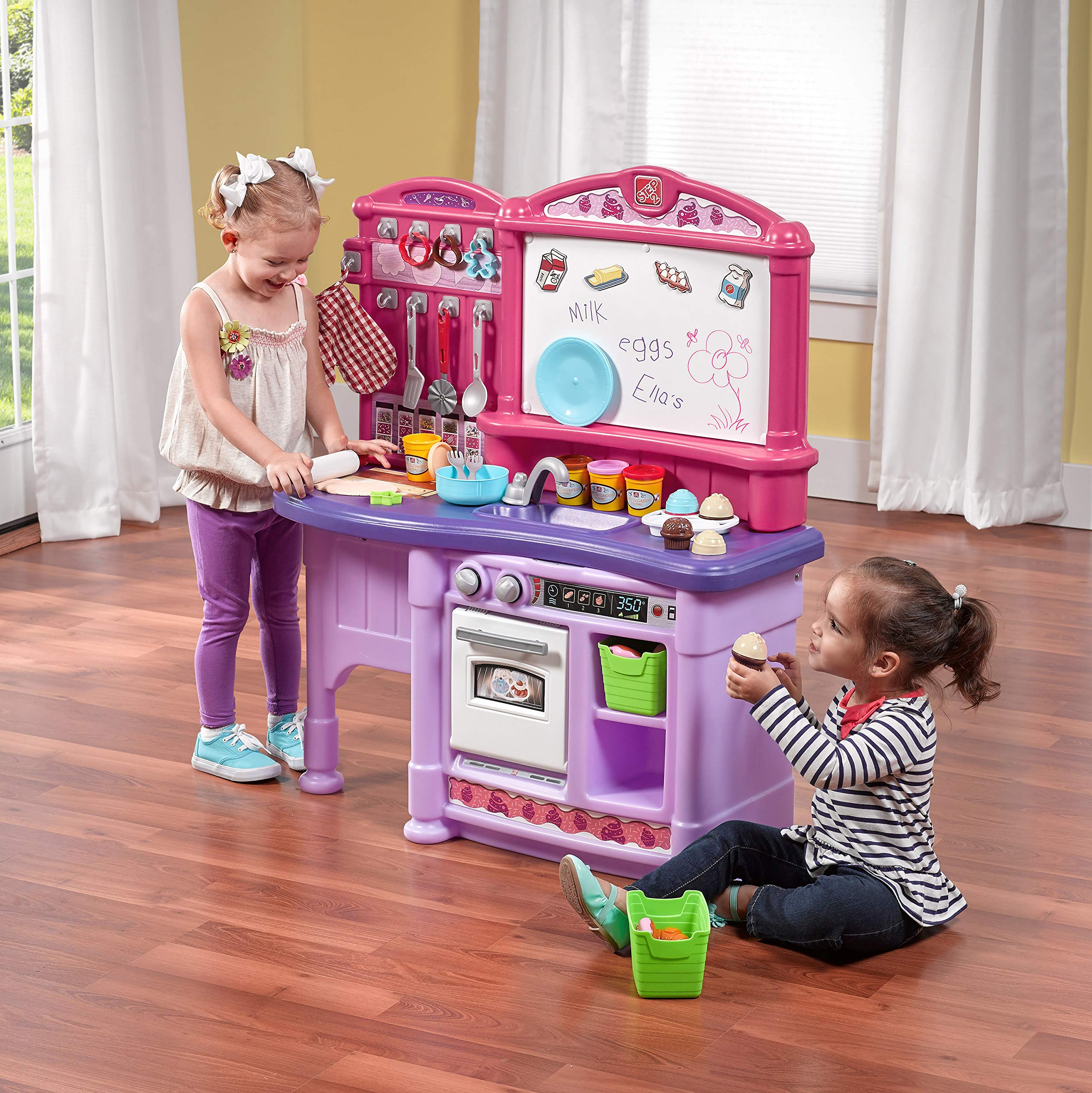 Step2 Create & Bake Play Kitchen with Toy Baking Set, Pink & Purple, 40'' H x 34.25'' W x 12'' D by Step2 (Image #2)