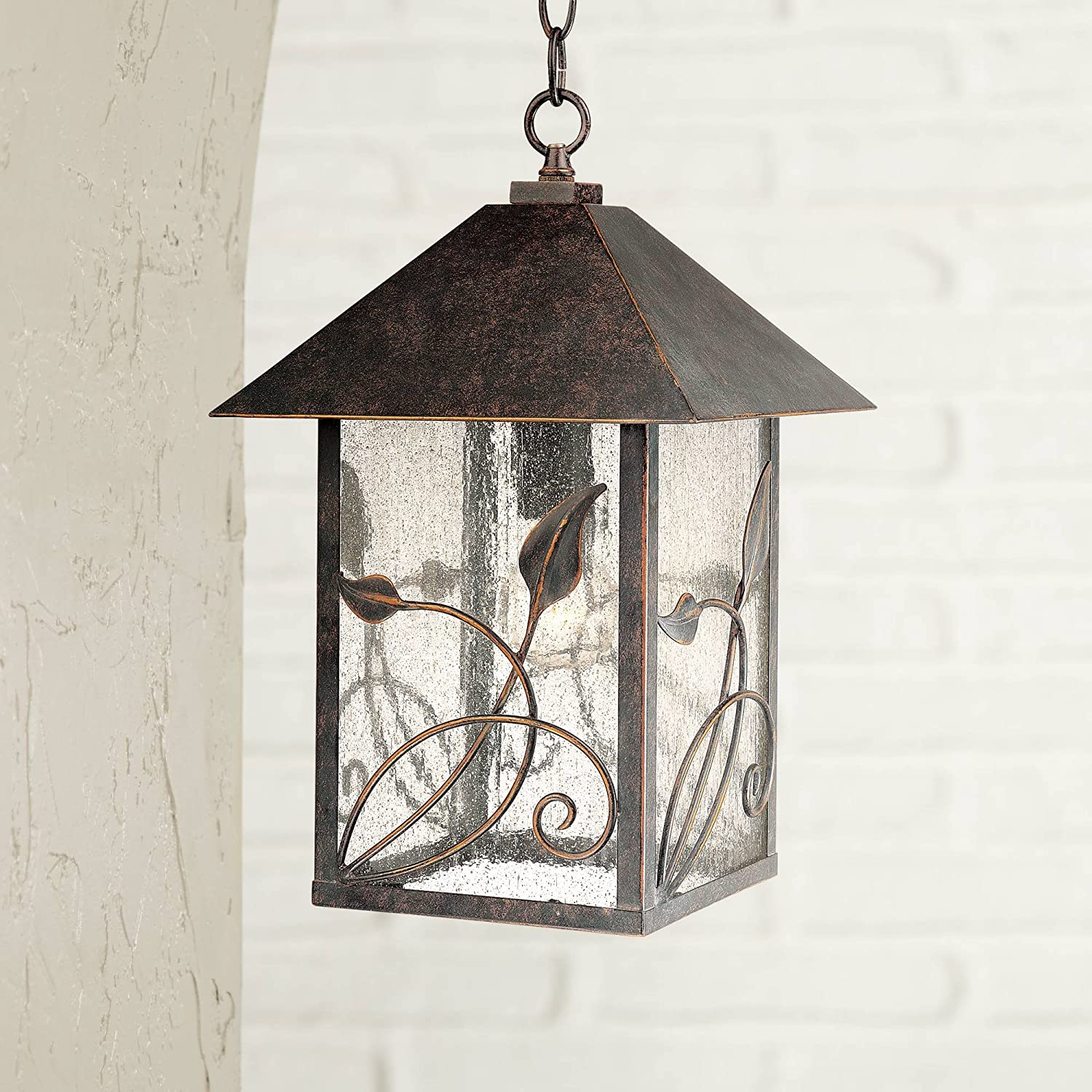 French Garden Country Cottage Outdoor Ceiling Light Hanging Bronze Leaf Pattern 15