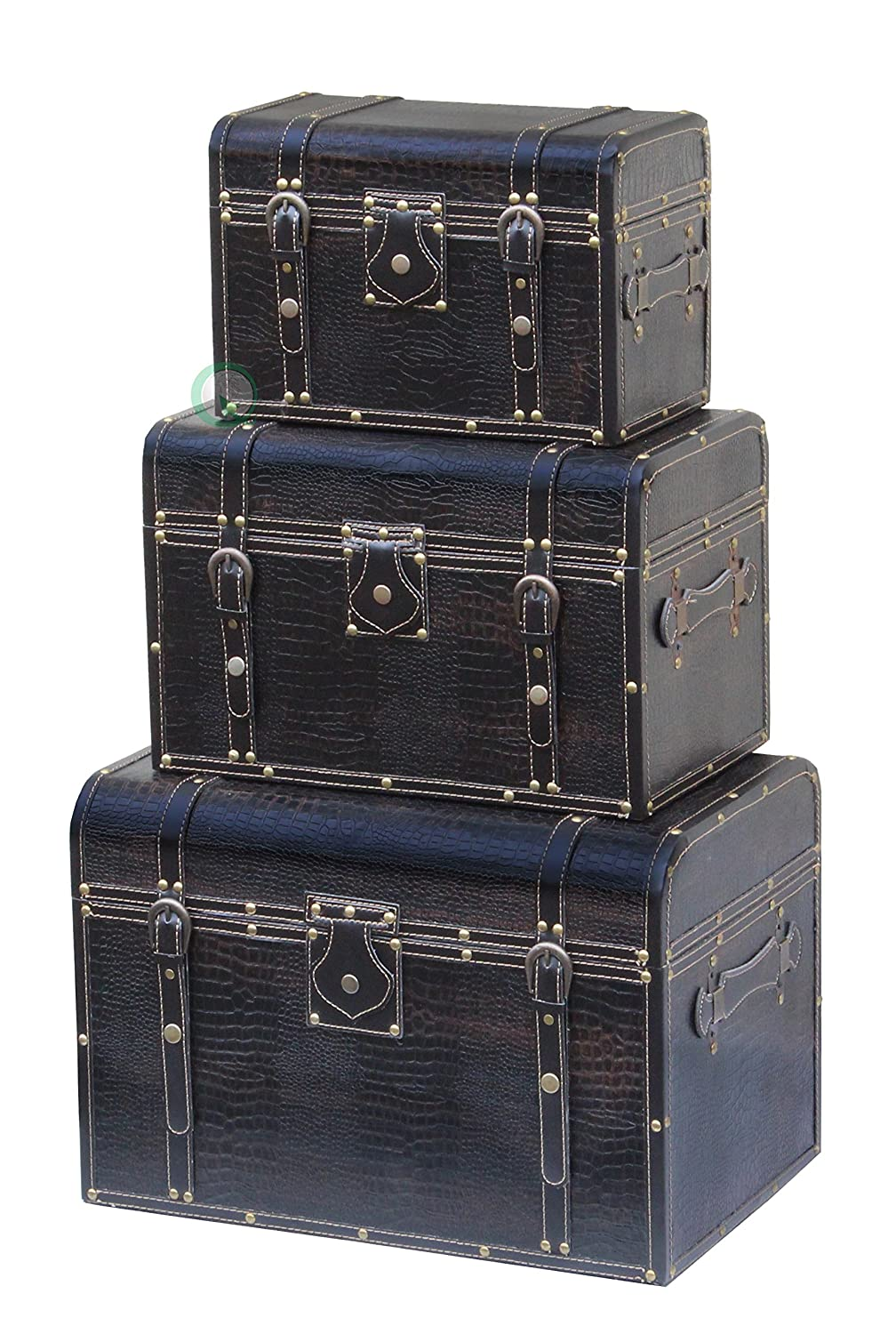 amazoncom leather storage trunks black set of 3 kitchen u0026 dining