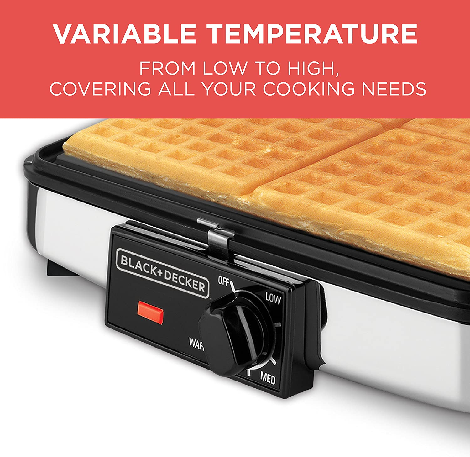 BLACK+DECKER 3-in-1 Waffle Maker with Nonstick Reversible Plates, Stainless Steel, G48TD: Electric Waffle Irons: Kitchen & Dining