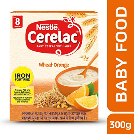 Nestle Cerelac Fortified Baby Cereal with Milk, Wheat Orange � From 8 Months, 300g Pack