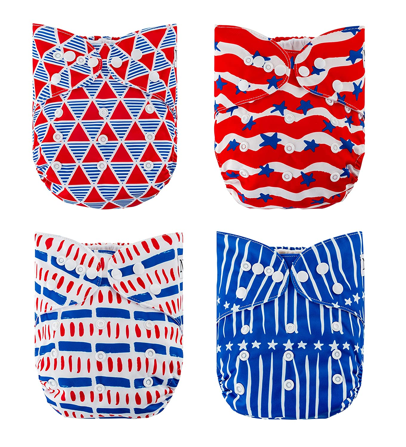 The Hollywood Hotel 4-Pack Cloth Pocket Diapers with 4 Bamboo Inserts