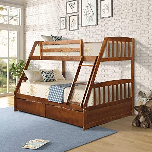 Hooseng Twin Over Full Bed with Two Storage Drawers, with Guard Rails on The top bunk Crafted of Pine Wood, Solid Construction, deep Walnut