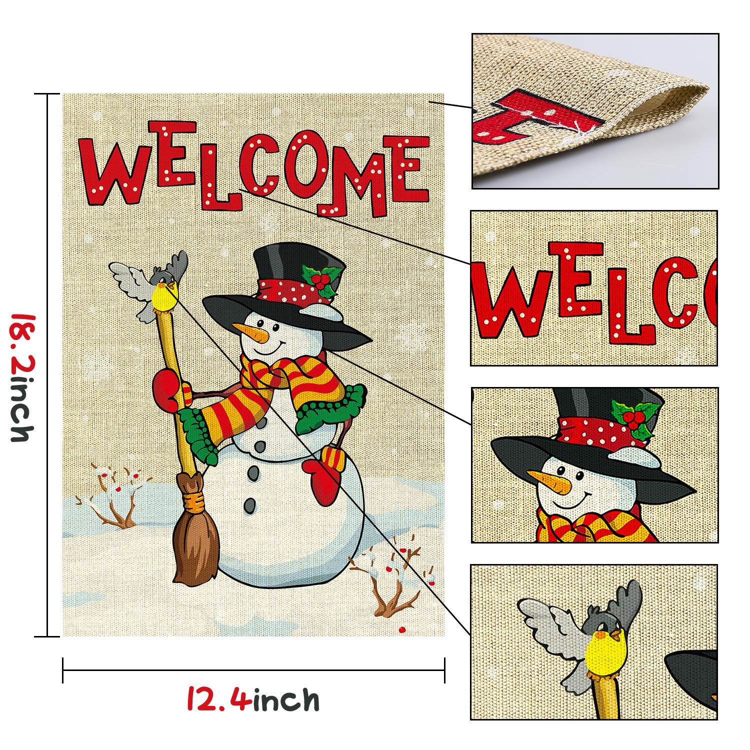 WATINC 2Pcs Welcome Happy Thanksgiving Garden Flag Pumpkins Lovely Turkey Harvest Fall Decorations Double Sided Burlap Autumn House Flags for Home Decor Indoor Outdoor Yard 12.4 x 18.2 Inch