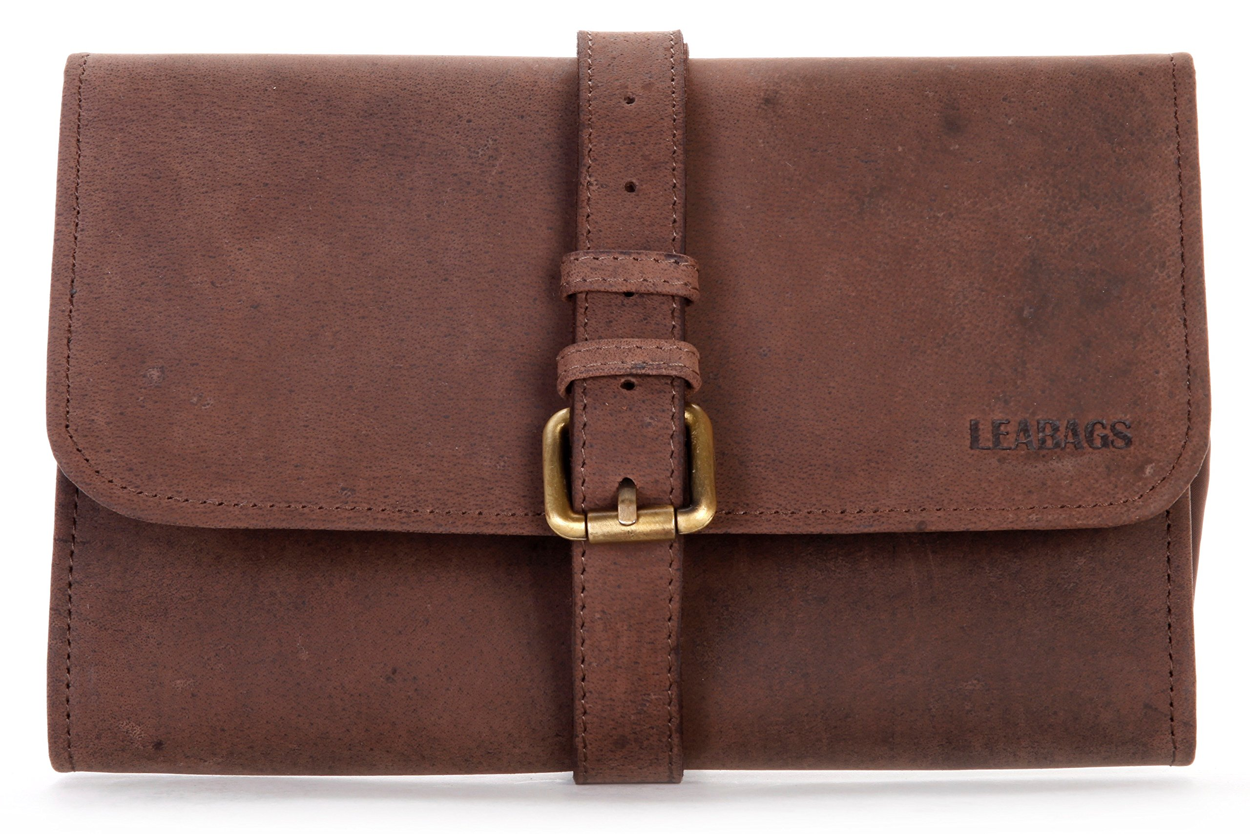 LEABAGS Palm Canyon genuine buffalo leather toiletry bag in vintage style - Nutmeg