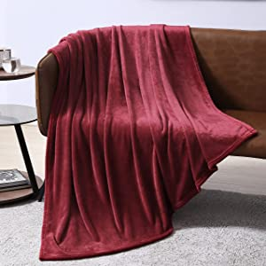 EXQ Home Fleece Blanket Red Throw Blanket for Couch or Bed - Microfiber Fuzzy Flannel Blanket for Adults or Kids