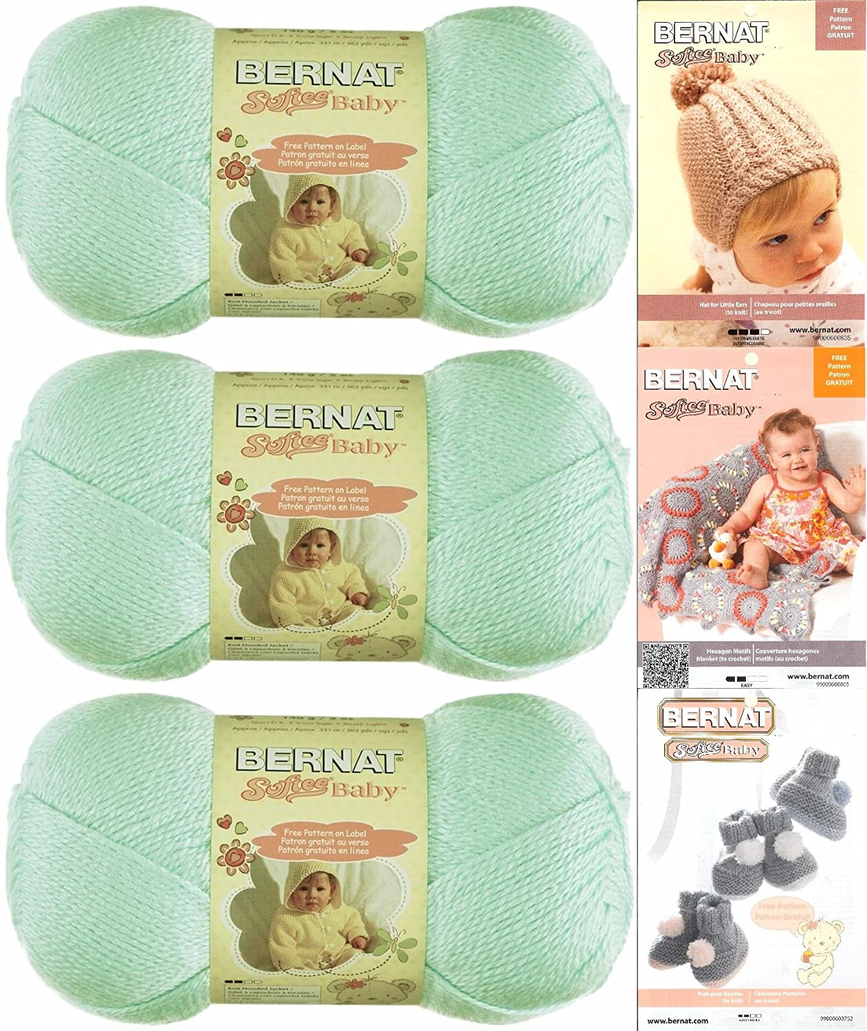 Bernat Softee Baby Yarn 3 Pack Bundle Includes 3 Patterns Dk