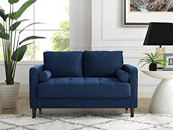 Lifestyle Solutions Lexington Loveseat in Navy Blue,