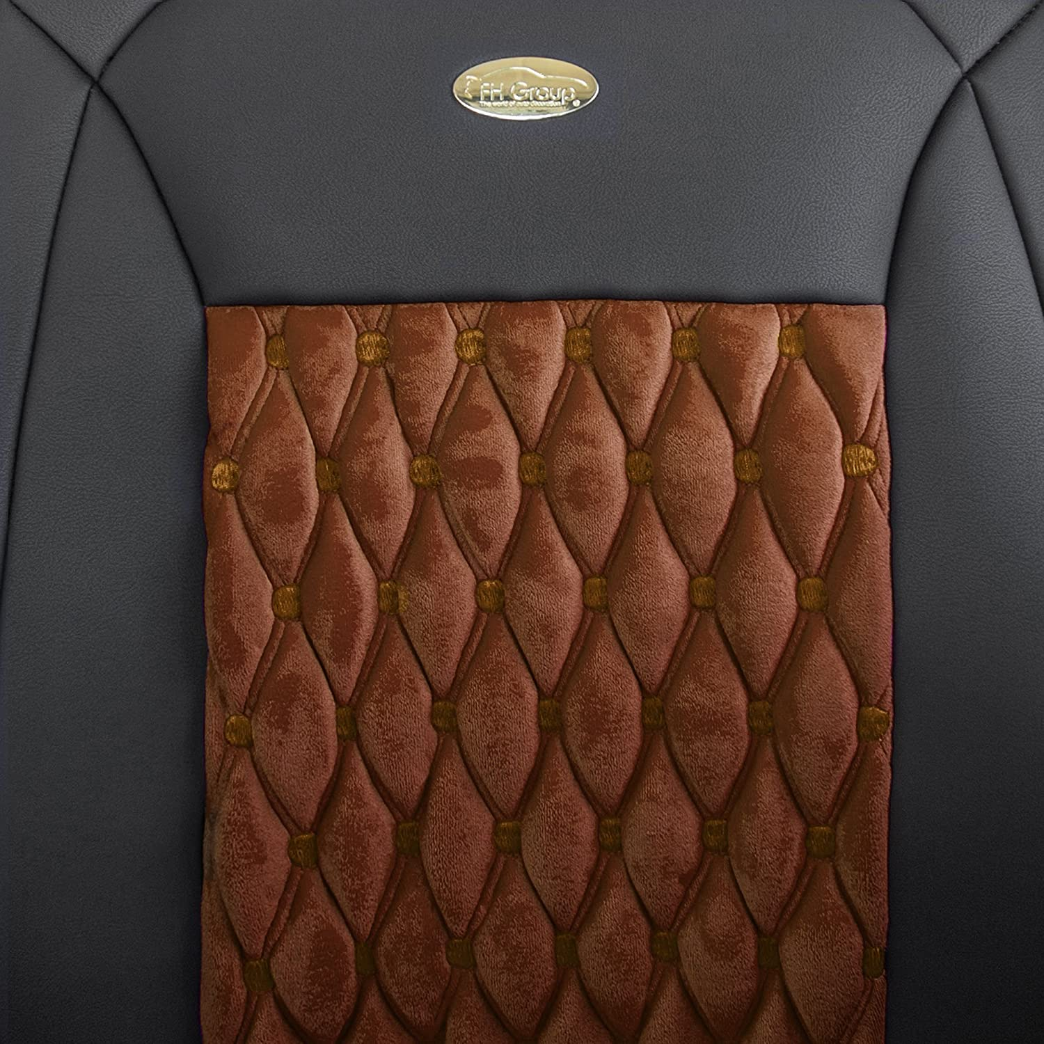 FH Group Brown//Black PU204BROWNBLACK102 Victorian Style Luxurious Leatherette Cushion Pad Seat Covers-Fit Most Car Truck or Van SUV