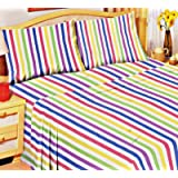 CANDY STRIPE 100% BRUSHED SOFT COTTON THERMAL FLANELETTE SHEET SET FITTED FLAT & PILLOWCASES KING