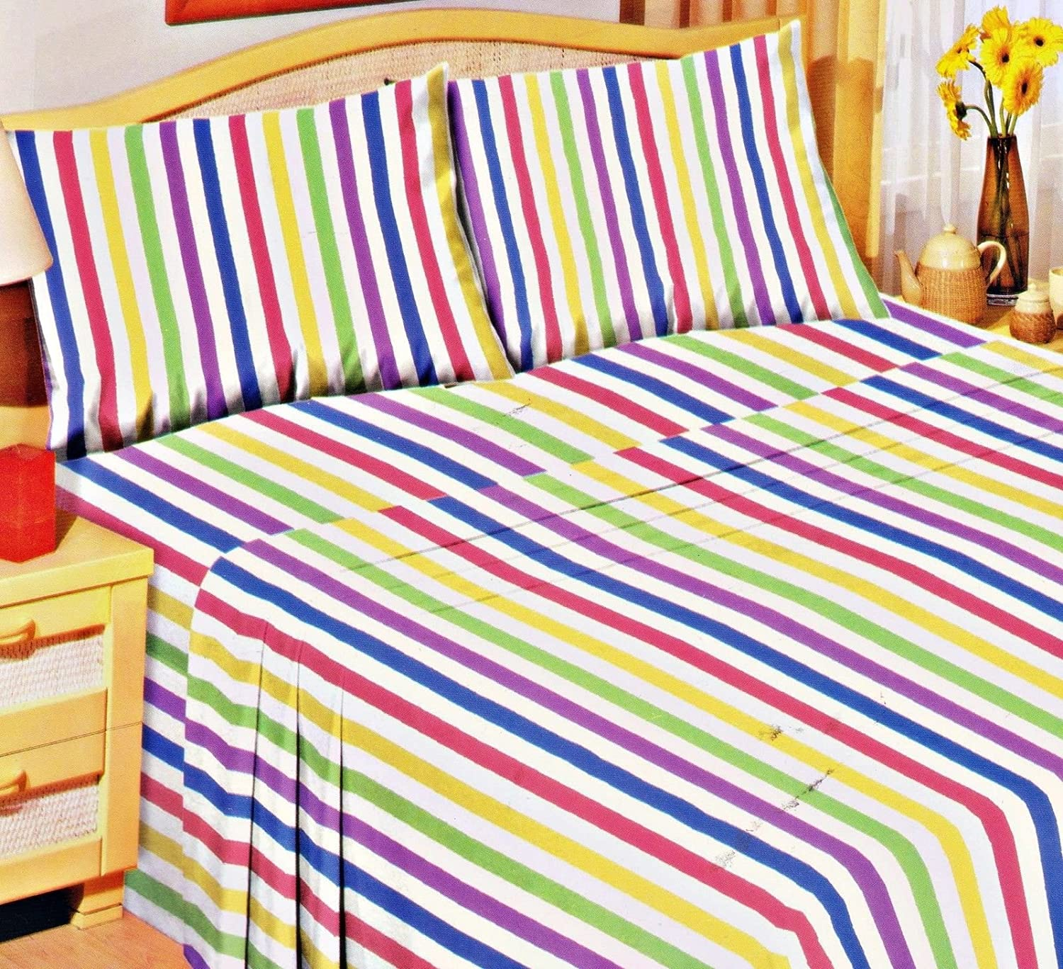 CANDY STRIPE 100% BRUSHED SOFT COTTON THERMAL FLANELETTE SHEET SET FITTED FLAT & PILLOWCASES KING LOVE2SLEEP