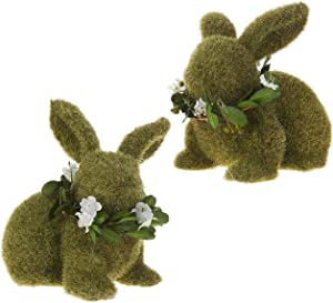 RAZ Imports Moss Bunny Figurines - Set of 2 Bunnies - Bunny Home Decor - Easter Decorations
