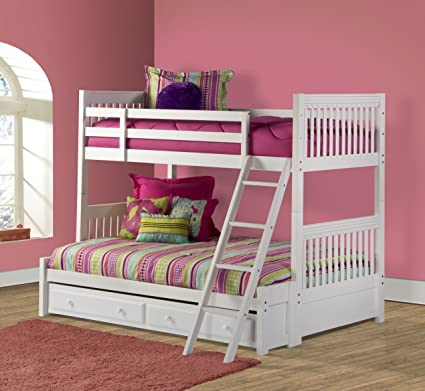 Amazon Com Lauren Twin Over Full Bunk Bed With Trundle Storage