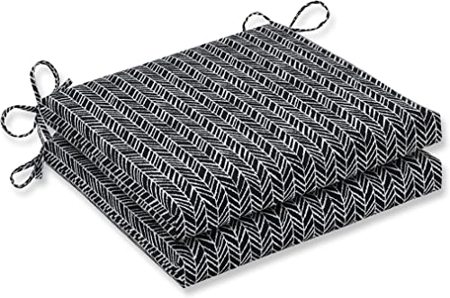 Pillow Perfect Outdoor Indoor Herringbone Night Square Corner Seat Cushions, 20 x 20 , Black, 2 Pack