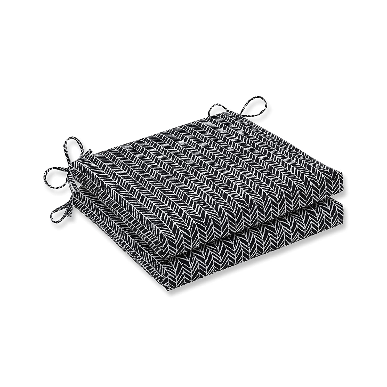 Pillow Perfect Outdoor Indoor Herringbone Night Squared Corners Seat C, 20 in. L X 20 in. W X 3 in. D, 2 Piece