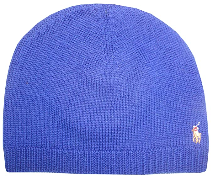 e62e1c5ca23 Image Unavailable. Image not available for. Color  Polo Ralph Lauren Mens  Hat Skull Cap 100% Merino Wool Blue with Classic Pony