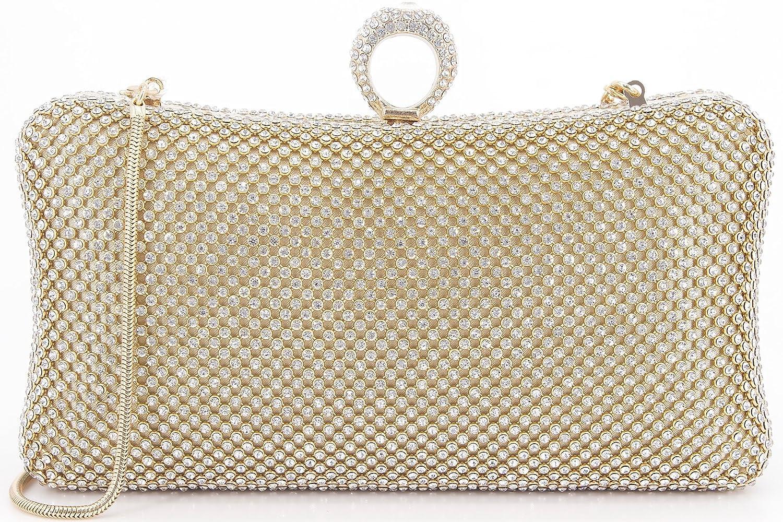 DEXMAY DM Strasssteine, Kristall, Clutch Bag zum Ausgehen Damen Gold (gold) Medium 20017