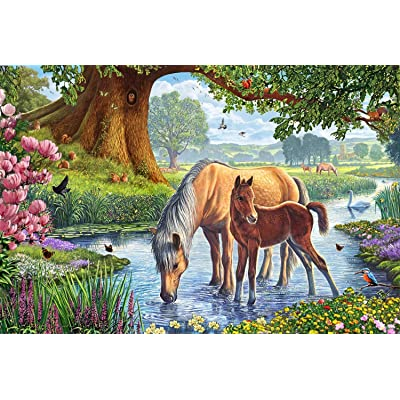 "Schmidt Spiele ""Horses at The Creek Puzzle (150 Piece): Toys & Games"