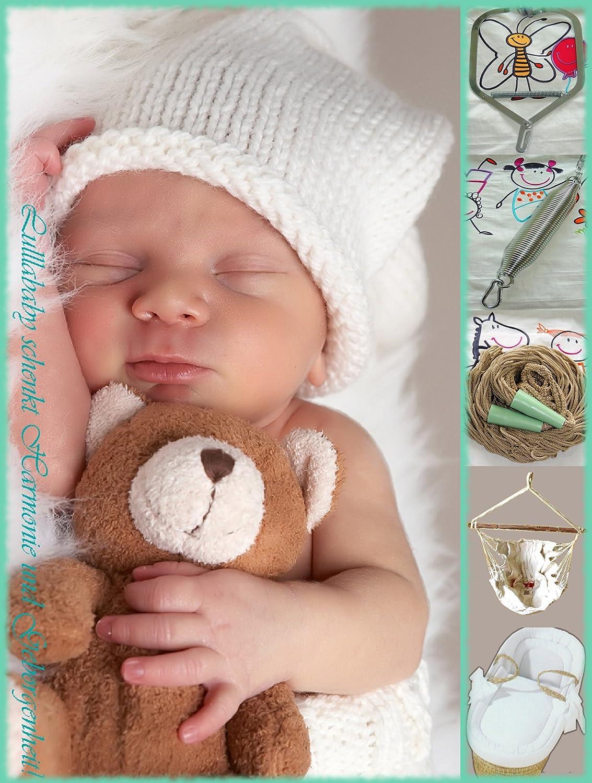 Lullababy® Federwiege SPAR-SET Deluxe | Lullababy® Therapeutically Baby Movement | Federwiege mit silberner Feder und naturfarbenem Netz. Bestehend aus: Kurzer silberner Sanftschwingfeder -mit integrierter Überdehnsicherung- | naturfarbenem Netz | Spezial-Deckenhaken mit Dübel | Karabiner |Bio-Babyhängematte | Türklammer | komplett ausgestatteter Moseskorb