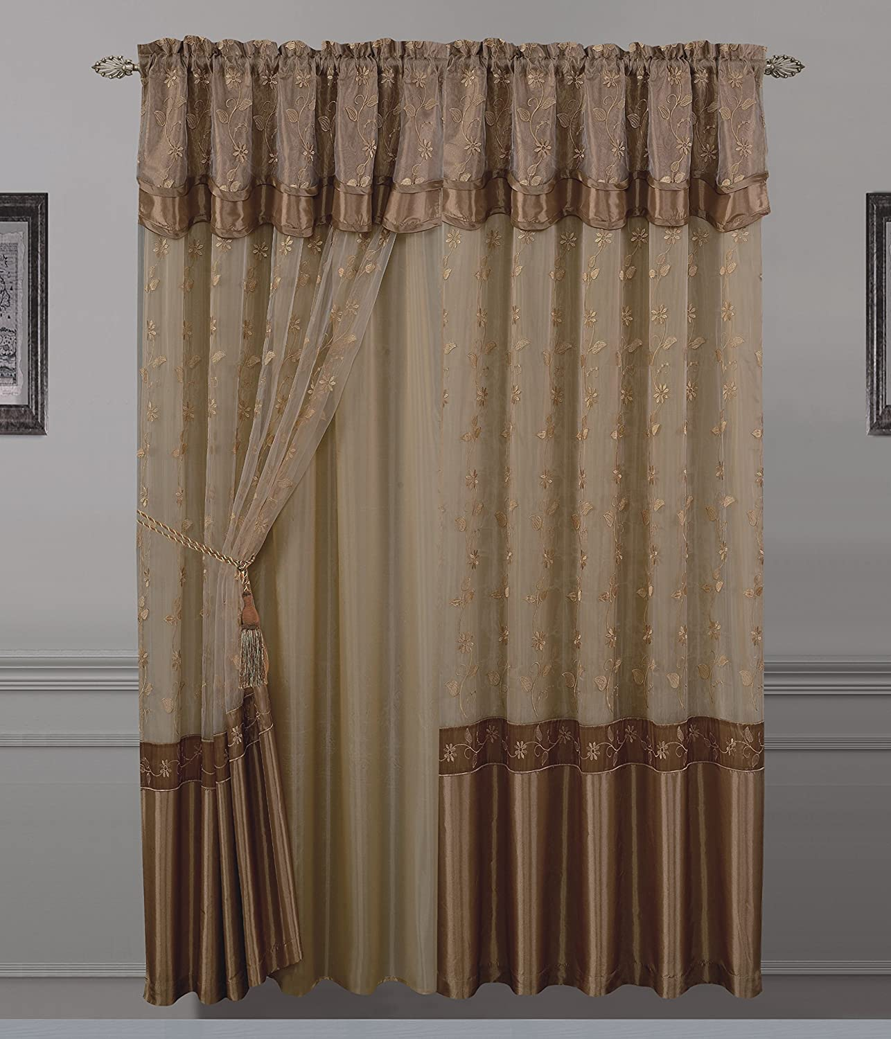 All American Collection New 1 Panel Embroidered Curtain with Attached Valance and Sheer Backing Gold
