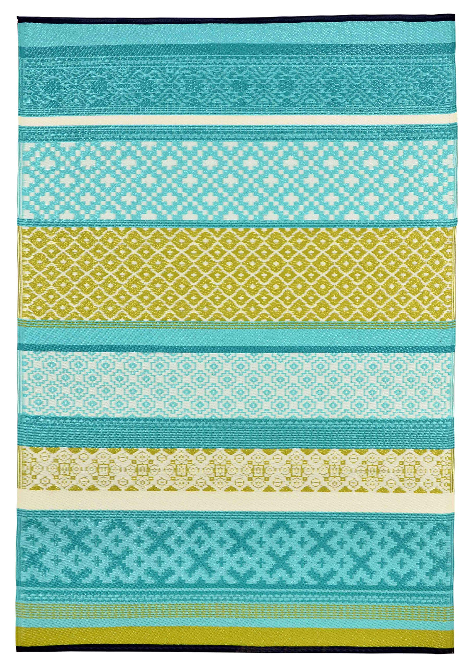 Lightweight Outdoor Reversible Durable Plastic Rug (4x6, Prime Turquoise/Green)
