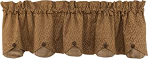 Park Designs Shade of Brown Lined Scalloped Valance, 58 x 15