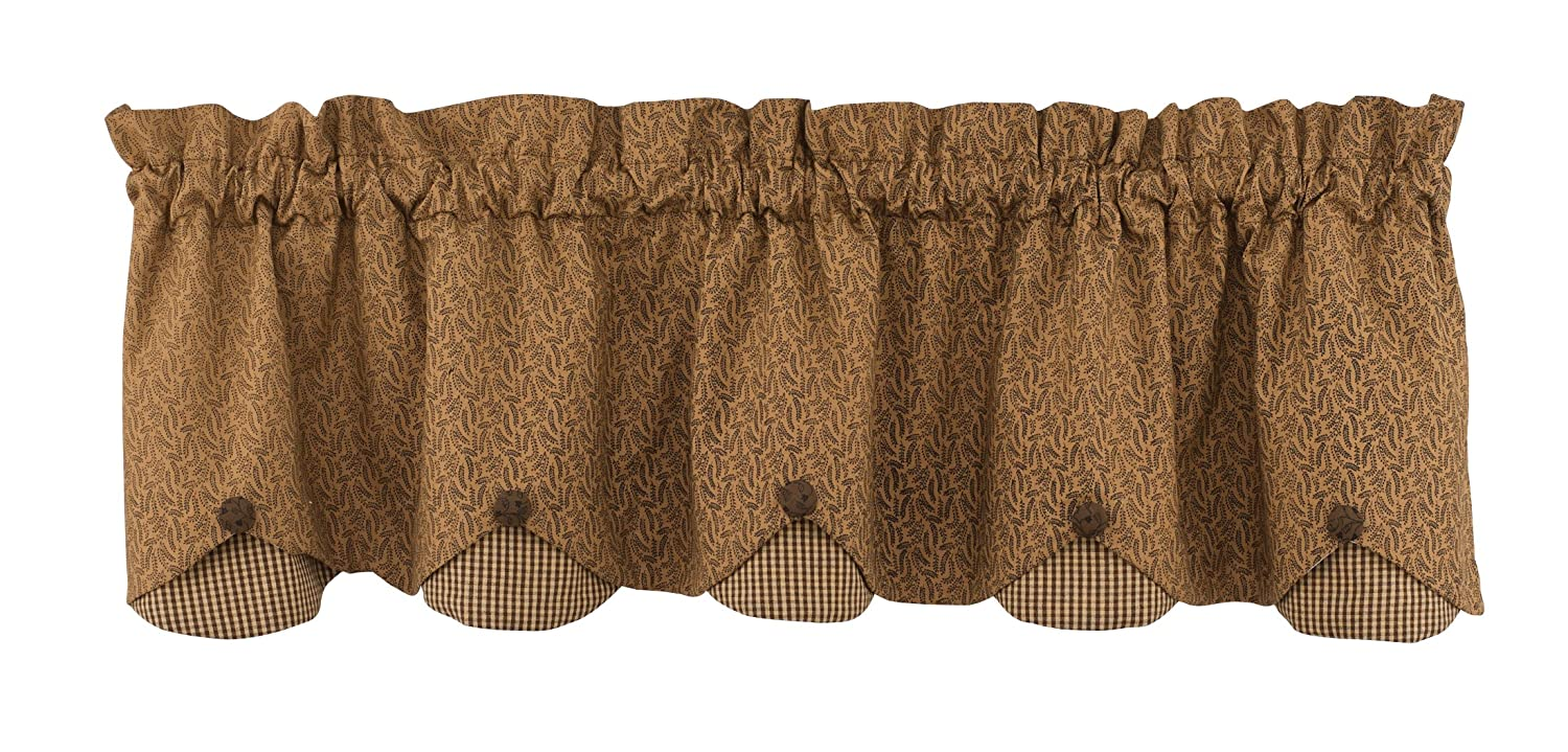 Park Designs Shade of Brown Lined Scalloped Valance, 58 X 15-Inch 384-473