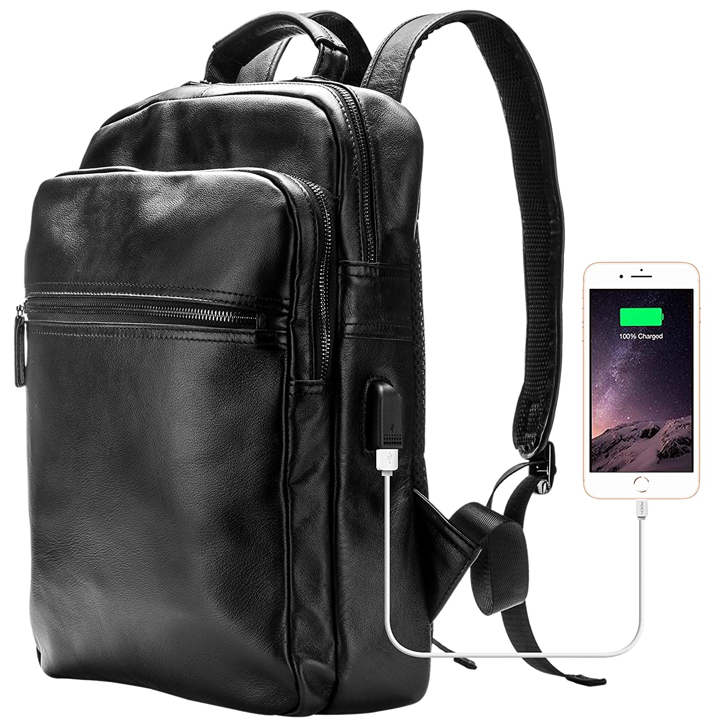 Genuine Leather Laptop Backpack for Men with USB Charging Port Fits 14 Inch,Casual Daypack for Travel Business Work College School