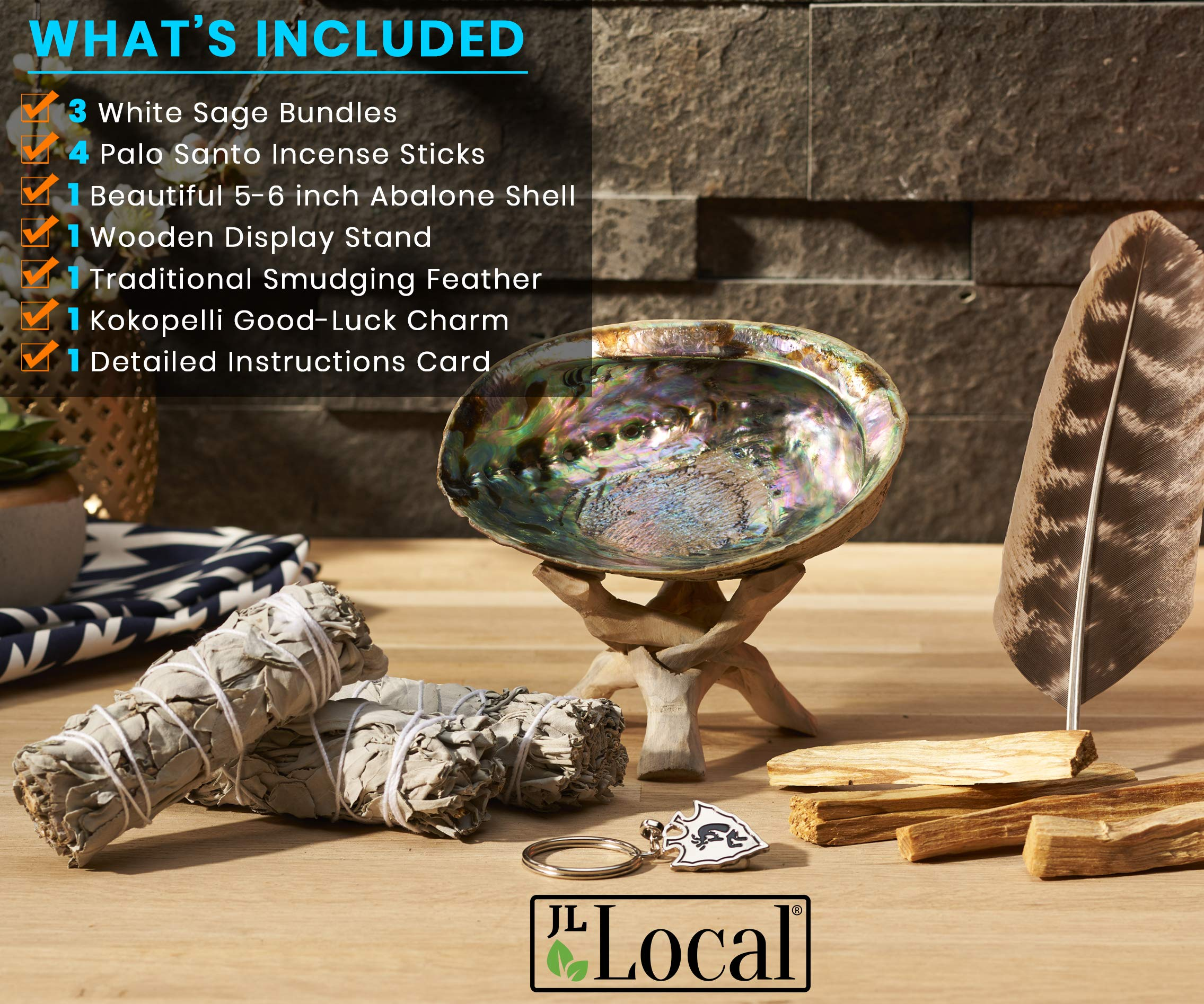 JL Local Smudge Kit - Sage, Palo Santo, Abalone Shell, Feather + More! Yoga, Meditating, Purify, Cleanse by JL Local (Image #2)