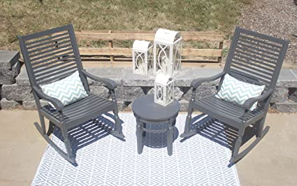 Excellent Pebble Lane Living All Weather Indoor Outdoor Exclusive Elegant Hardwood Bistro Set 2 Porch Rocking Chairs With Detachable Cushions And Round Side Ibusinesslaw Wood Chair Design Ideas Ibusinesslaworg
