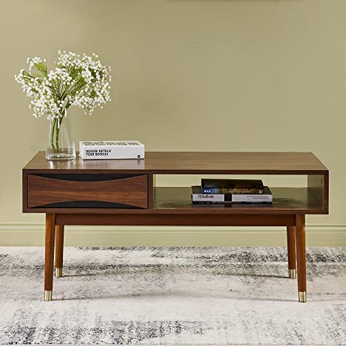Versanora Dawson Coffee Table Living Room, 39.62 x 21.62 x 17.75 , Walnut