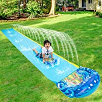 Xinrimoy 18ft Backyard Water Slide for Kids Adults Double Surfboard Game Water Jet Slide for Outdoor Grass Garden Lawn Childrens Waterslide Summer Water Toy with Inflatable Crash Pad