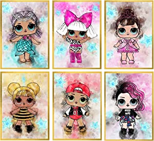Posters for Girls Room – Unframed Set of 6 Doll Prints, 8x10 Inch, Pink Bedroom Decor for Girls, Cartoon Wall Art Prints for Tween Girl, Gift for Kids, Bathroom, Birthday Party Decoration