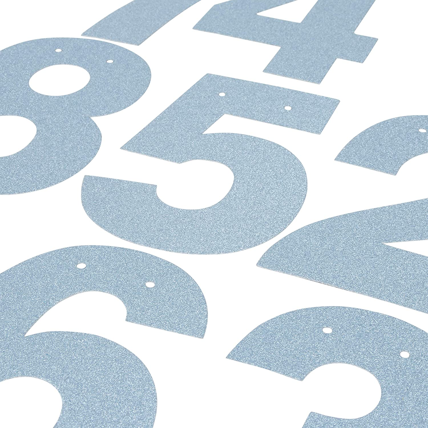 Party Decoration Supplies Numbers 125-Piece Customizable Banner Letters and Symbols Blue Glitter DIY Letter Banner Make Your Own Banner for Birthdays and Weddings Custom Banner Kit