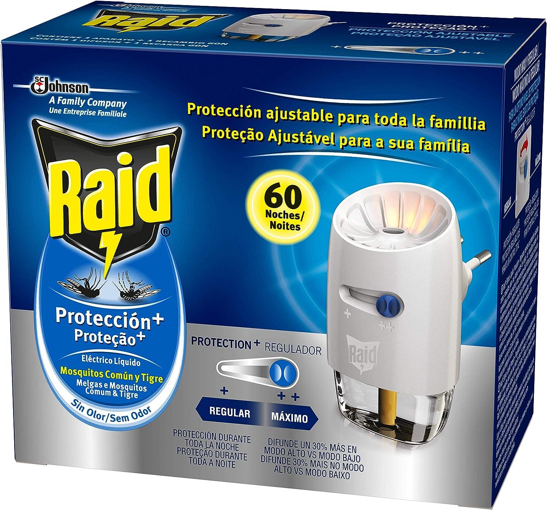 Raid - Difusor electrico Protection+ Anti Mosquitos Comunes y Tigre, 60 Noches, difusor + recambio